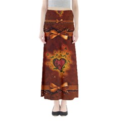 Beautiful Heart With Leaves Full Length Maxi Skirt