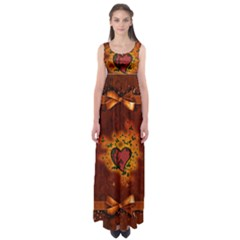 Beautiful Heart With Leaves Empire Waist Maxi Dress