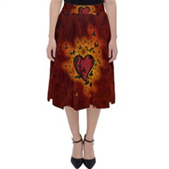 Beautiful Heart With Leaves Classic Midi Skirt