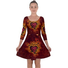 Beautiful Heart With Leaves Quarter Sleeve Skater Dress