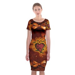 Beautiful Heart With Leaves Classic Short Sleeve Midi Dress