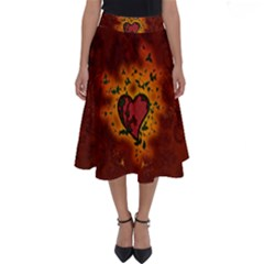 Beautiful Heart With Leaves Perfect Length Midi Skirt