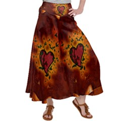 Beautiful Heart With Leaves Satin Palazzo Pants
