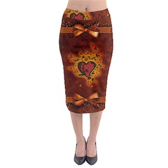 Beautiful Heart With Leaves Midi Pencil Skirt