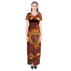 Beautiful Heart With Leaves Short Sleeve Maxi Dress