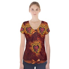 Beautiful Heart With Leaves Short Sleeve Front Detail Top