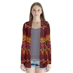 Beautiful Heart With Leaves Drape Collar Cardigan