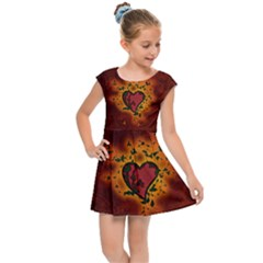Beautiful Heart With Leaves Kids  Cap Sleeve Dress