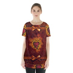 Beautiful Heart With Leaves Skirt Hem Sports Top