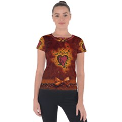 Beautiful Heart With Leaves Short Sleeve Sports Top