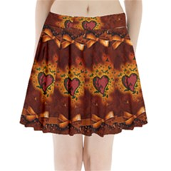 Beautiful Heart With Leaves Pleated Mini Skirt