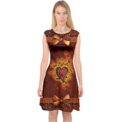 Beautiful Heart With Leaves Capsleeve Midi Dress