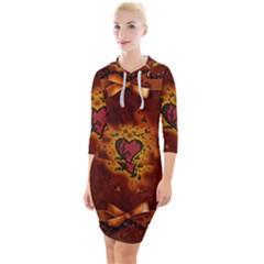 Beautiful Heart With Leaves Quarter Sleeve Hood Bodycon Dress