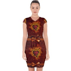 Beautiful Heart With Leaves Capsleeve Drawstring Dress
