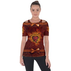Beautiful Heart With Leaves Shoulder Cut Out Short Sleeve Top
