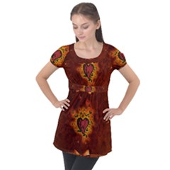 Beautiful Heart With Leaves Puff Sleeve Tunic Top