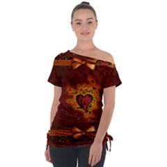 Beautiful Heart With Leaves Tie-Up Tee