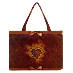 Beautiful Heart With Leaves Zipper Medium Tote Bag by FantasyWorld7