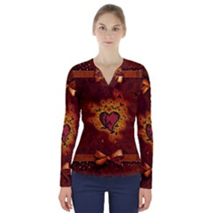 Beautiful Heart With Leaves V-Neck Long Sleeve Top