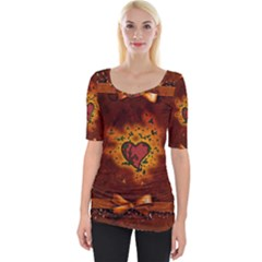 Beautiful Heart With Leaves Wide Neckline Tee