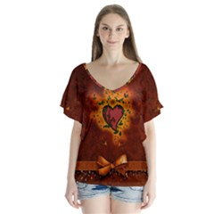 Beautiful Heart With Leaves V-Neck Flutter Sleeve Top