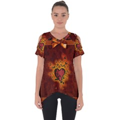 Beautiful Heart With Leaves Cut Out Side Drop Tee