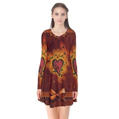 Beautiful Heart With Leaves Long Sleeve V-neck Flare Dress