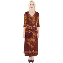 Beautiful Heart With Leaves Quarter Sleeve Wrap Maxi Dress