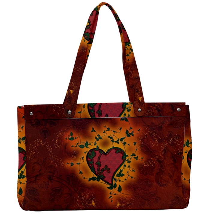 Beautiful Heart With Leaves Canvas Work Bag