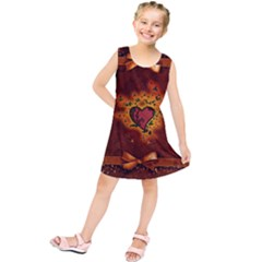 Beautiful Heart With Leaves Kids  Tunic Dress