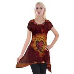 Beautiful Heart With Leaves Short Sleeve Side Drop Tunic