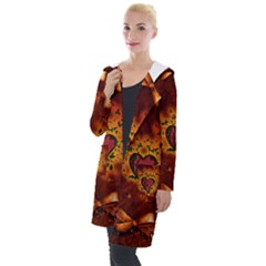 Beautiful Heart With Leaves Hooded Pocket Cardigan