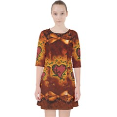 Beautiful Heart With Leaves Pocket Dress