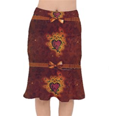 Beautiful Heart With Leaves Short Mermaid Skirt