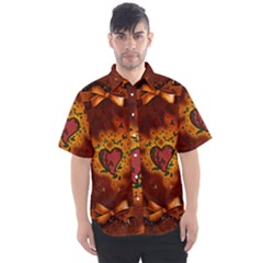 Beautiful Heart With Leaves Men s Short Sleeve Shirt