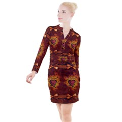 Beautiful Heart With Leaves Button Long Sleeve Dress
