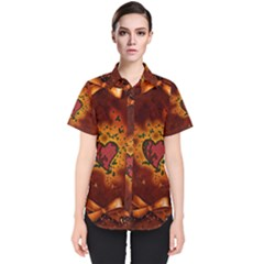Beautiful Heart With Leaves Women s Short Sleeve Shirt