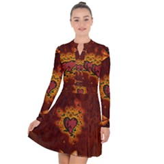 Beautiful Heart With Leaves Long Sleeve Panel Dress