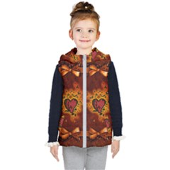 Beautiful Heart With Leaves Kids  Hooded Puffer Vest