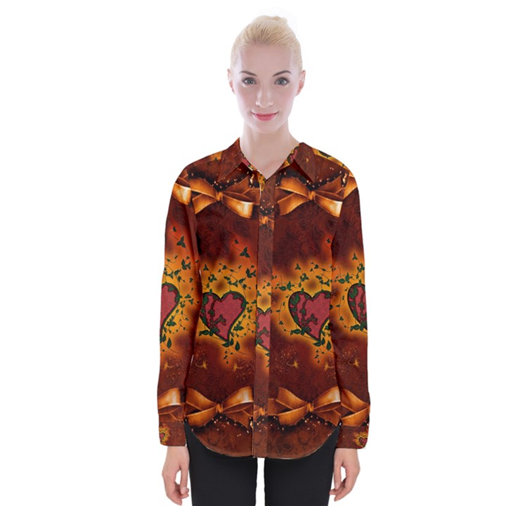 Beautiful Heart With Leaves Womens Long Sleeve Shirt