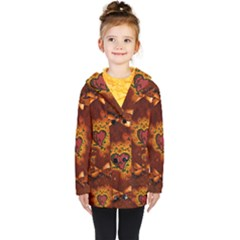 Beautiful Heart With Leaves Kids  Double Breasted Button Coat