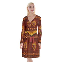 Beautiful Heart With Leaves Long Sleeve Velvet Front Wrap Dress