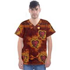 Beautiful Heart With Leaves Men s V-neck Scrub Top