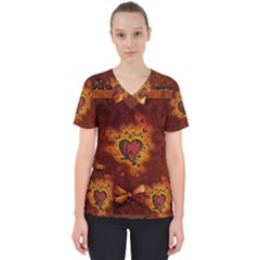 Beautiful Heart With Leaves Women s V Neck Scrub Top
