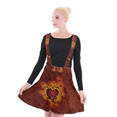Beautiful Heart With Leaves Suspender Skater Skirt by FantasyWorld7
