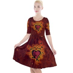 Beautiful Heart With Leaves Quarter Sleeve A-Line Dress