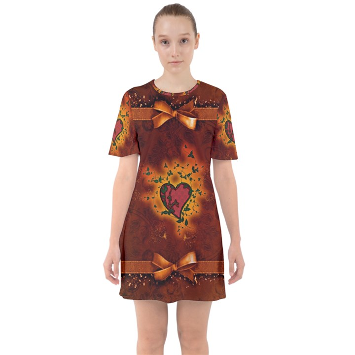 Beautiful Heart With Leaves Sixties Short Sleeve Mini Dress