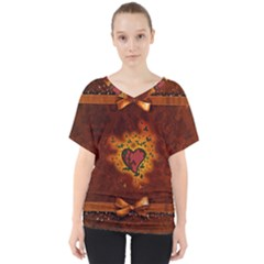 Beautiful Heart With Leaves V-Neck Dolman Drape Top
