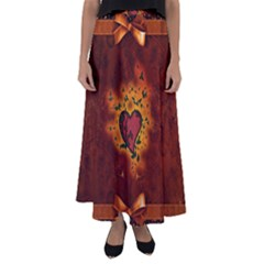 Beautiful Heart With Leaves Flared Maxi Skirt