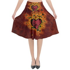 Beautiful Heart With Leaves Flared Midi Skirt